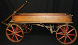 Antique Wood Spoke Wilkenson Coaster Wagon Hand Brake