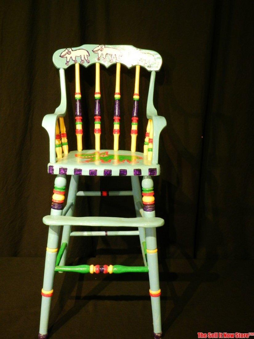 Dennis Pearson Beastie Painted Highchair