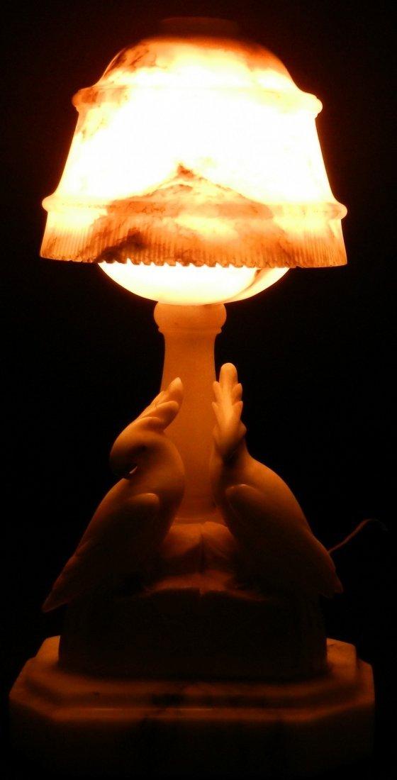 Art Deco Domed Shade Carved Alabaster Parrot Lamp