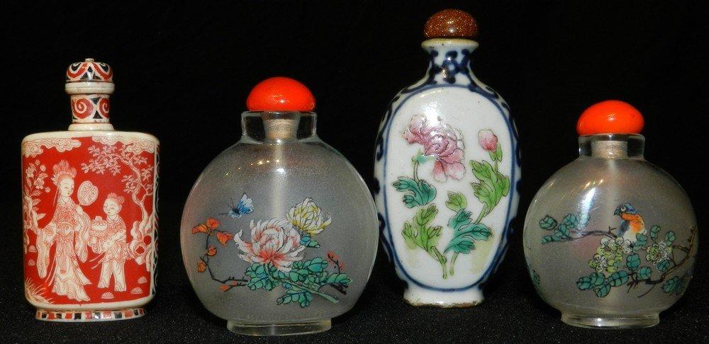 Chinese Glass Enamel Ivory Polychrome Snuff Bottles