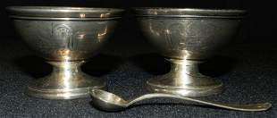 W3H Silver Bowl Set Sheffield Sterling Spoon