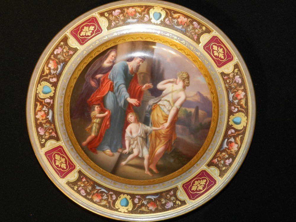 """Hand Painted Royal Vienna Charger """"The Expulsion of Hag"""