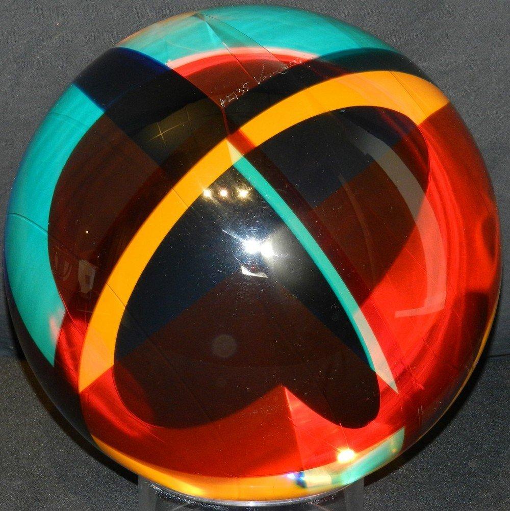 """#2735"" Acrylic Laminate Sphere Sculpture by Vasa Veliz"