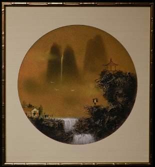 Pair of Framed Asian Sand Painting Art