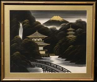 Framed Asian Pagoda Silk Painting