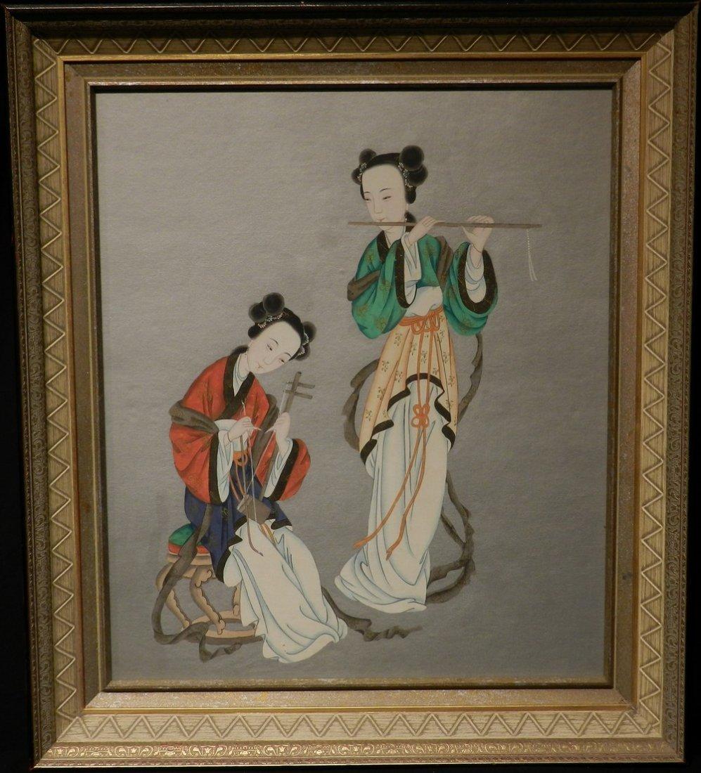 Japanese Watercolor Geisha Girls Playing Instruments
