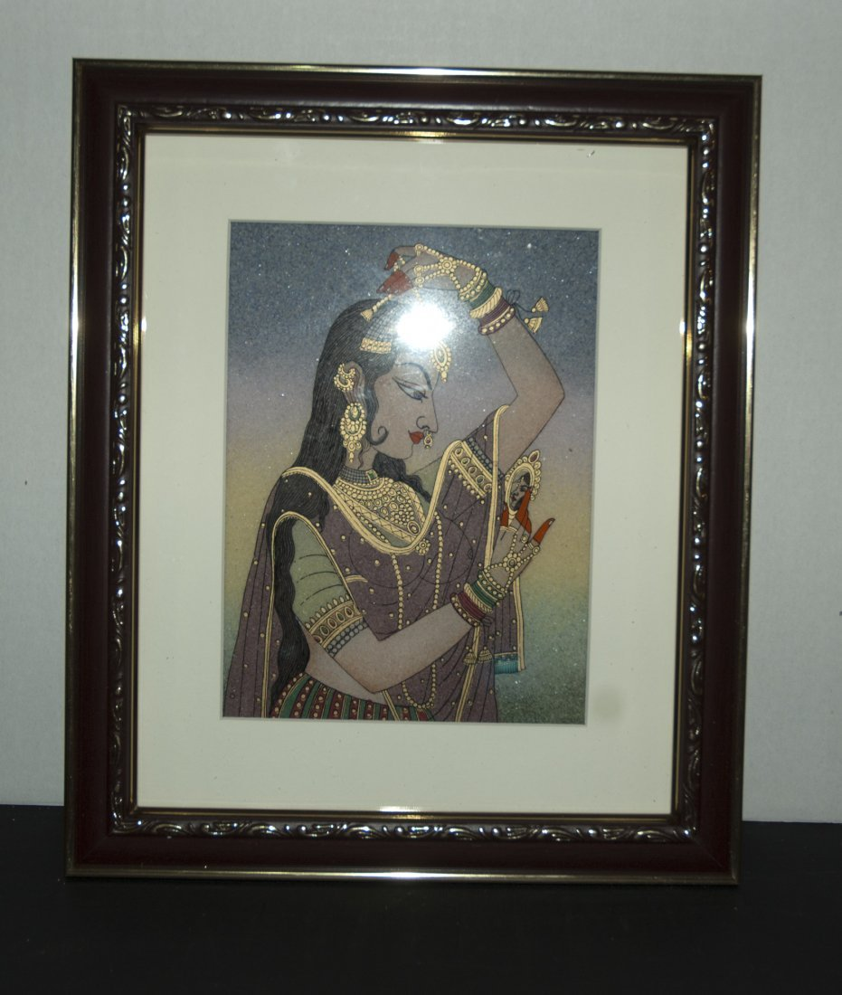 Indian Beauty Gemstone Painting