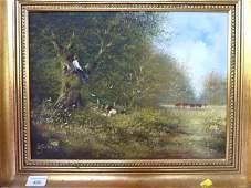 496: Gilt framed oil on canvas painting of children in