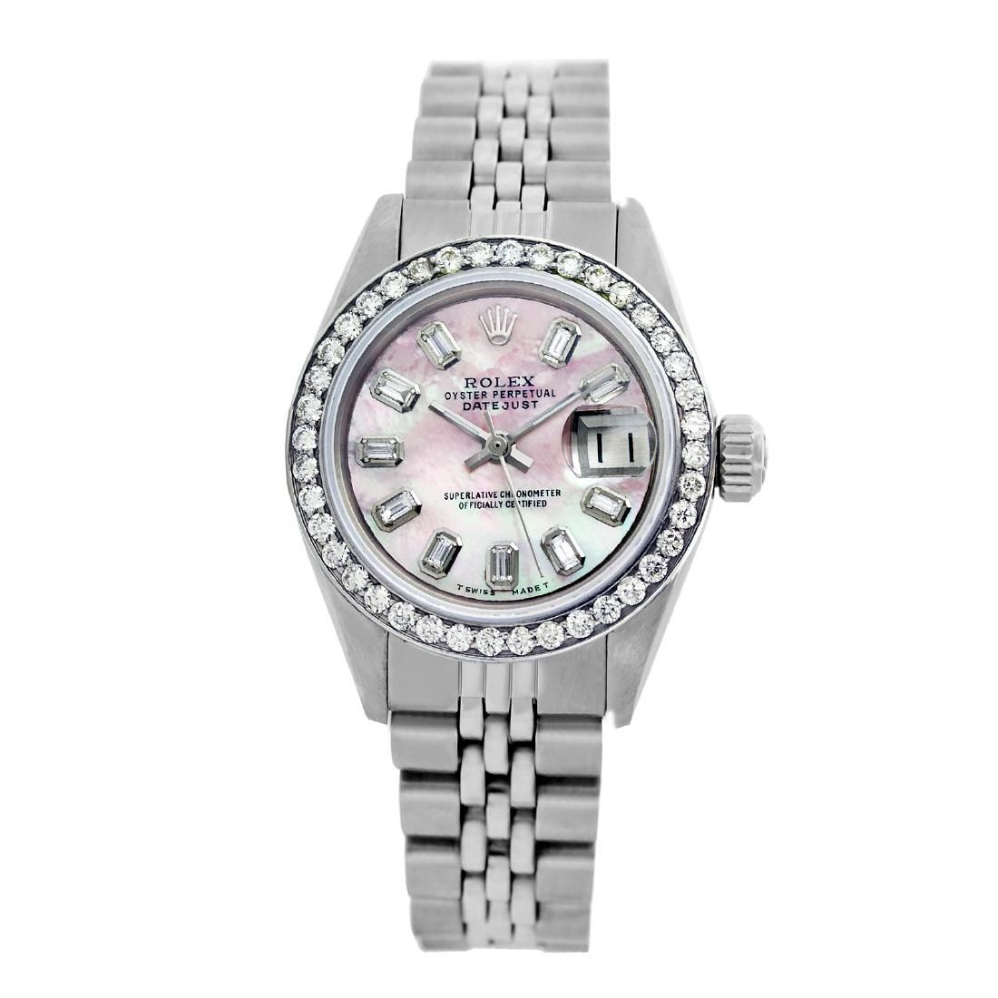 Rolex Pre-owned 26mm Womens Custom Pink MOP Stainless