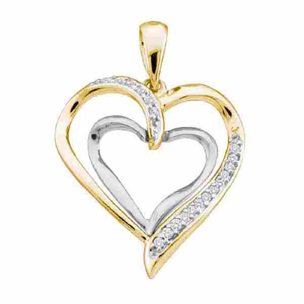 0.10 CTW Diamond Double Nested Heart Pendant 10KT