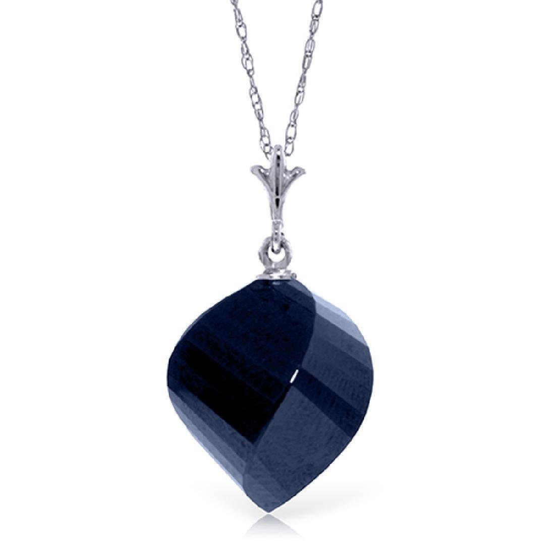 Genuine 15.25 ctw Sapphire Necklace Jewelry 14KT White