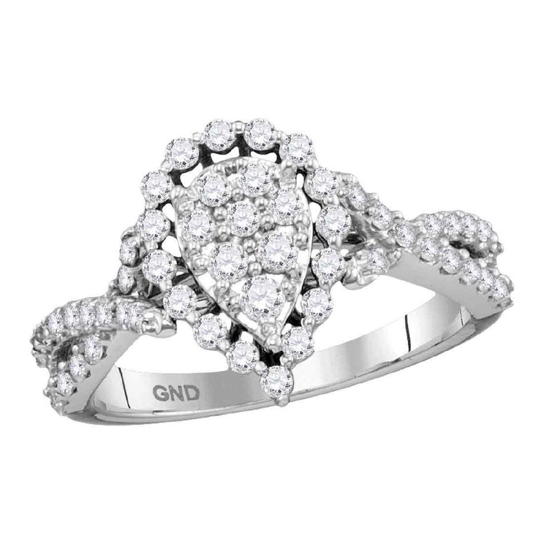 0.75 CTW Diamond Teardrop Fashion Ring 14KT White Gold