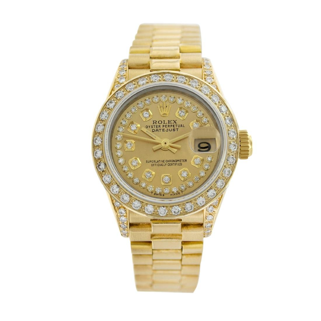 Rolex Pre-owned 26mm Womens String Champagne 18K Gold -