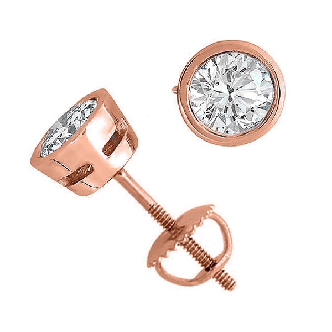 14K Rose Gold 2.05 ctw Natural Diamond Stud Earrings -