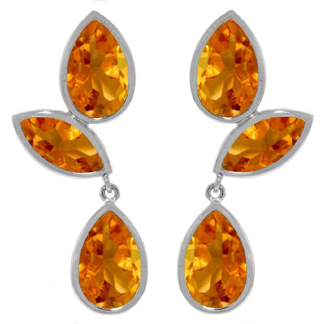 Genuine 13 ctw Citrine Earrings Jewelry 14KT White Gold