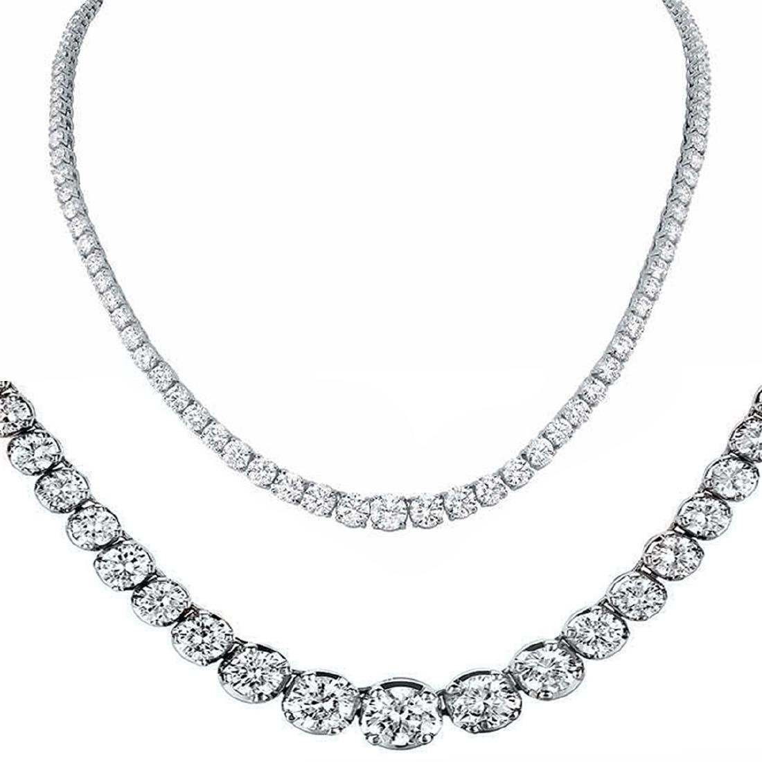 Natural 14.18CTW VS2/I-J Diamond Tennis Necklace 18K