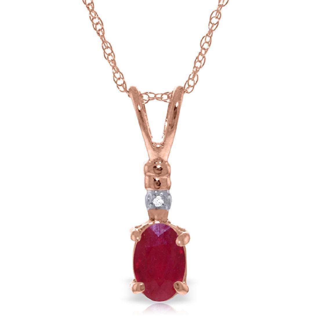 Genuine 0.46 ctw Ruby & Diamond Necklace Jewelry 14KT