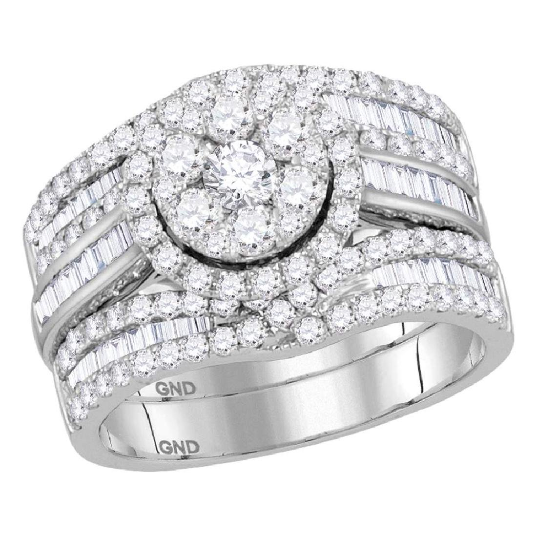 2.07 CTW Diamond Cluster Bridal Engagement Ring 14KT