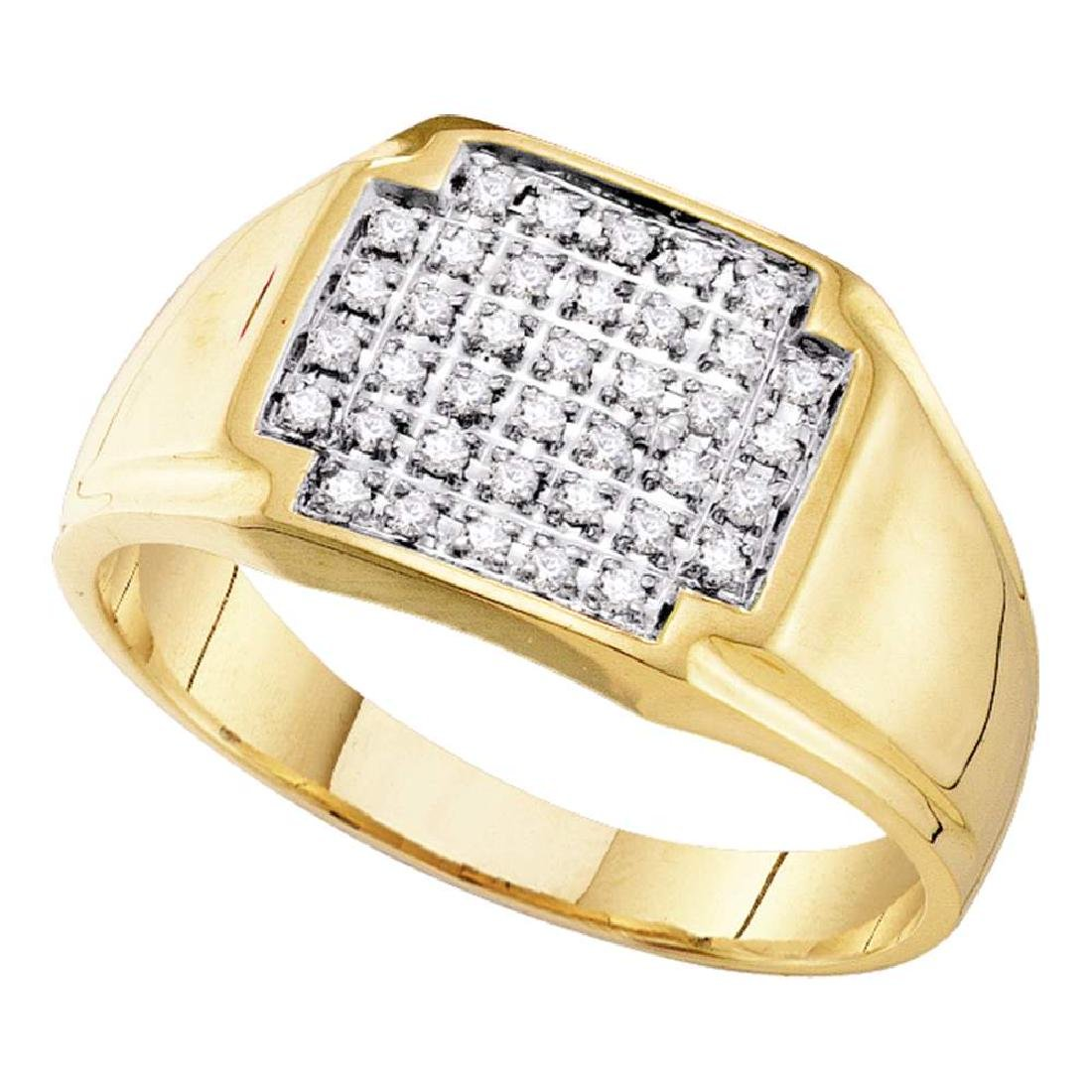 0.25 CTW Mens Pave-set Diamond Square Cluster Ring 10KT