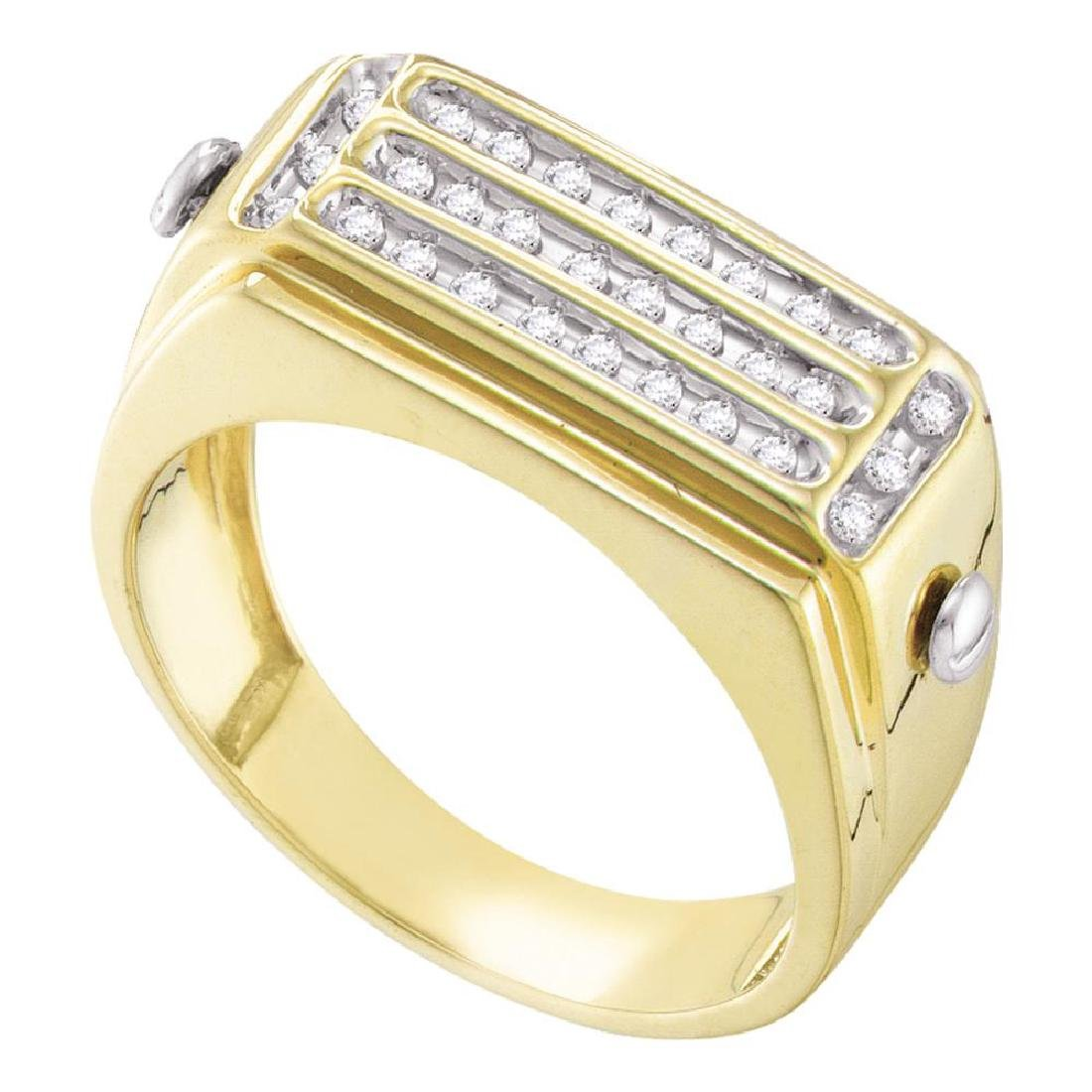 0.26 CTW Mens Diamond Cluster Ring 10KT Yellow Gold -