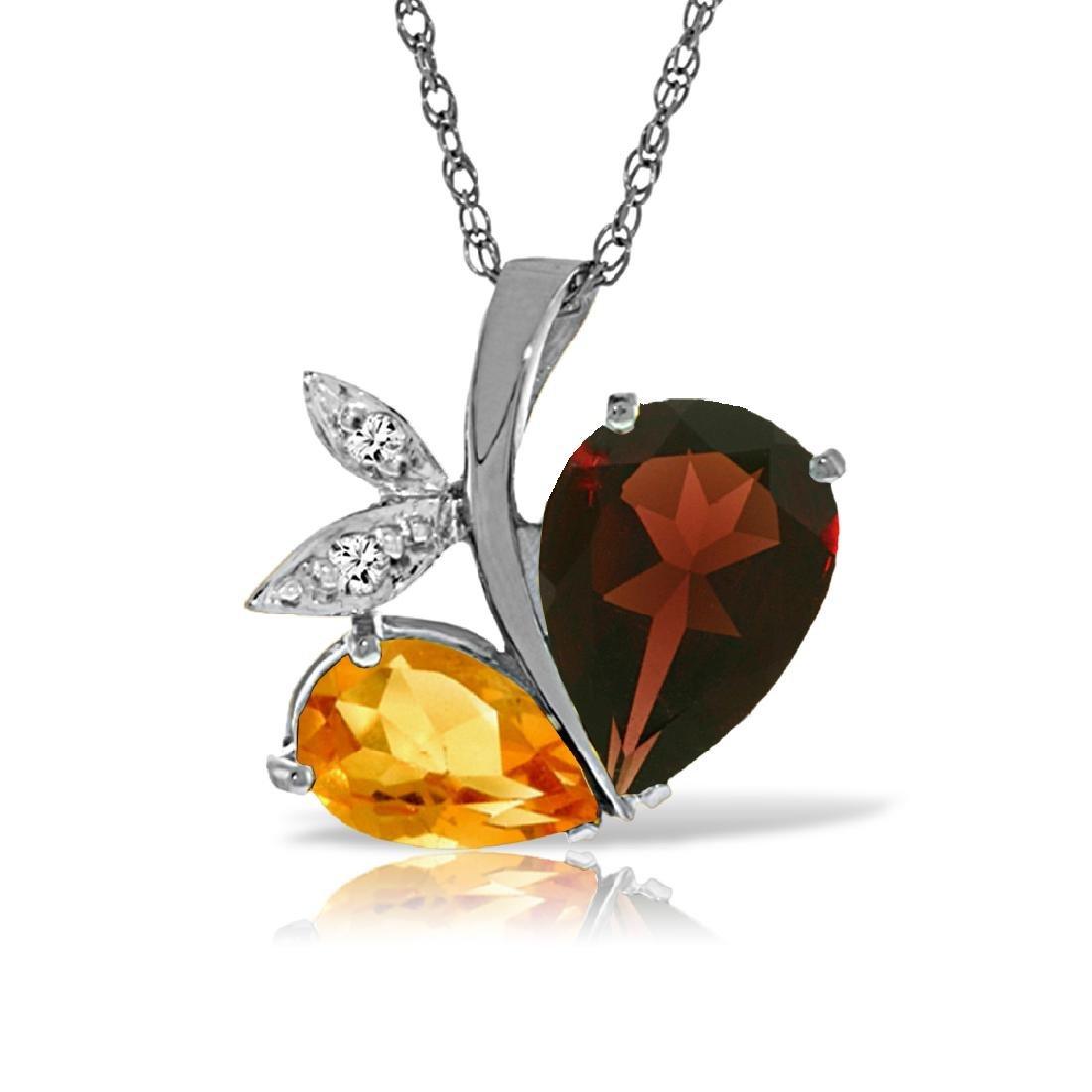 Genuine 5.06 ctw Garnet, Citrine & Diamond Necklace