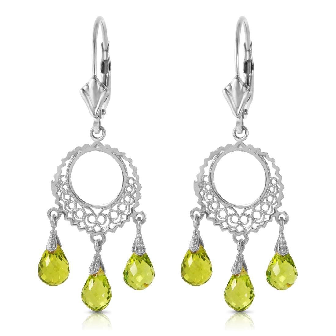 Genuine 3.75 ctw Peridot Earrings Jewelry 14KT White