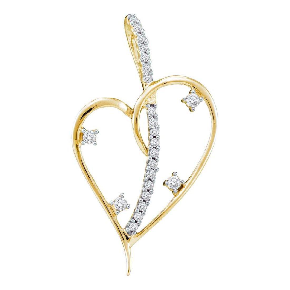 0.20 CTW Diamond Wire Heart Love Pendant 14KT Yellow