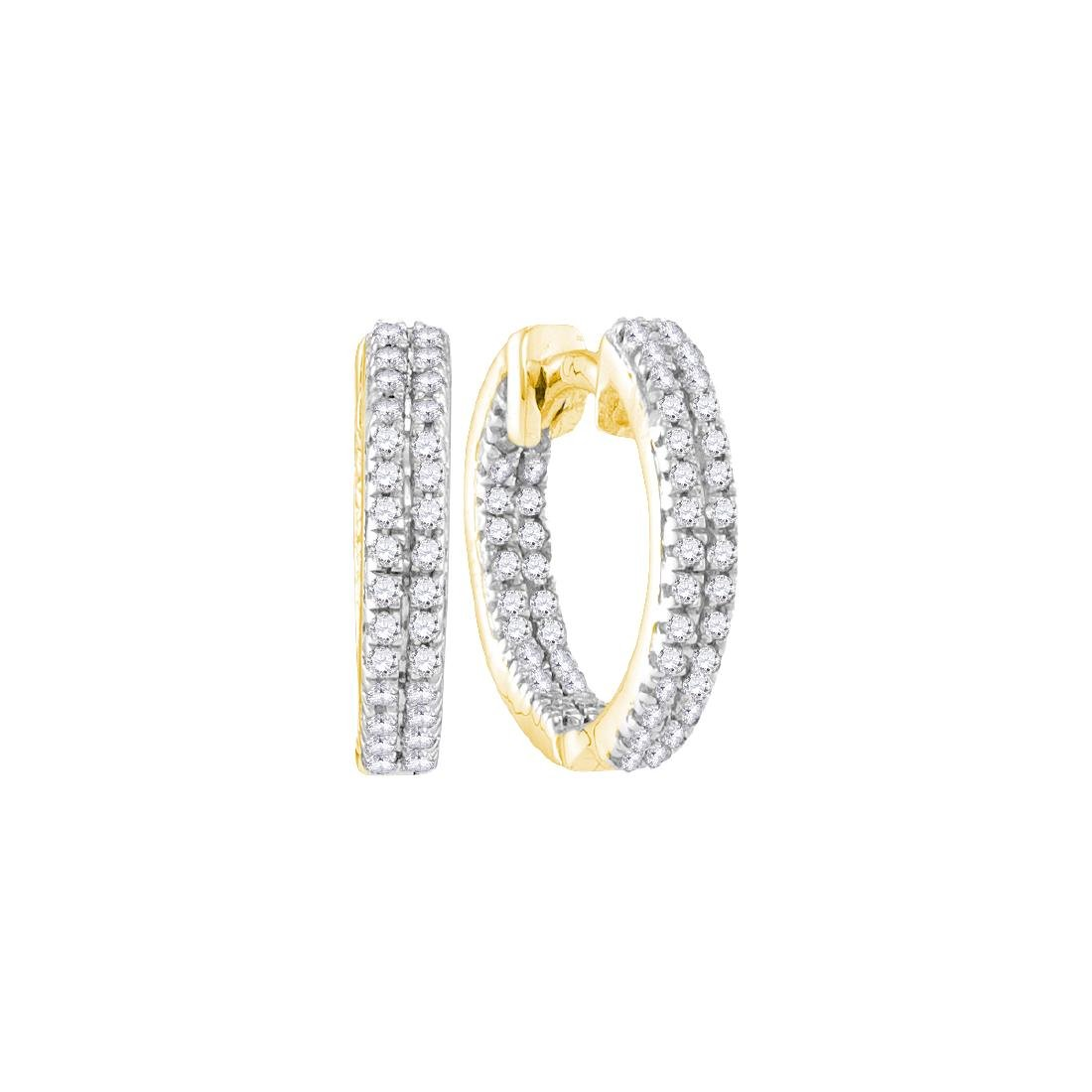 0.20 CTW Diamond Hoop Earrings 10KT Yellow Gold -