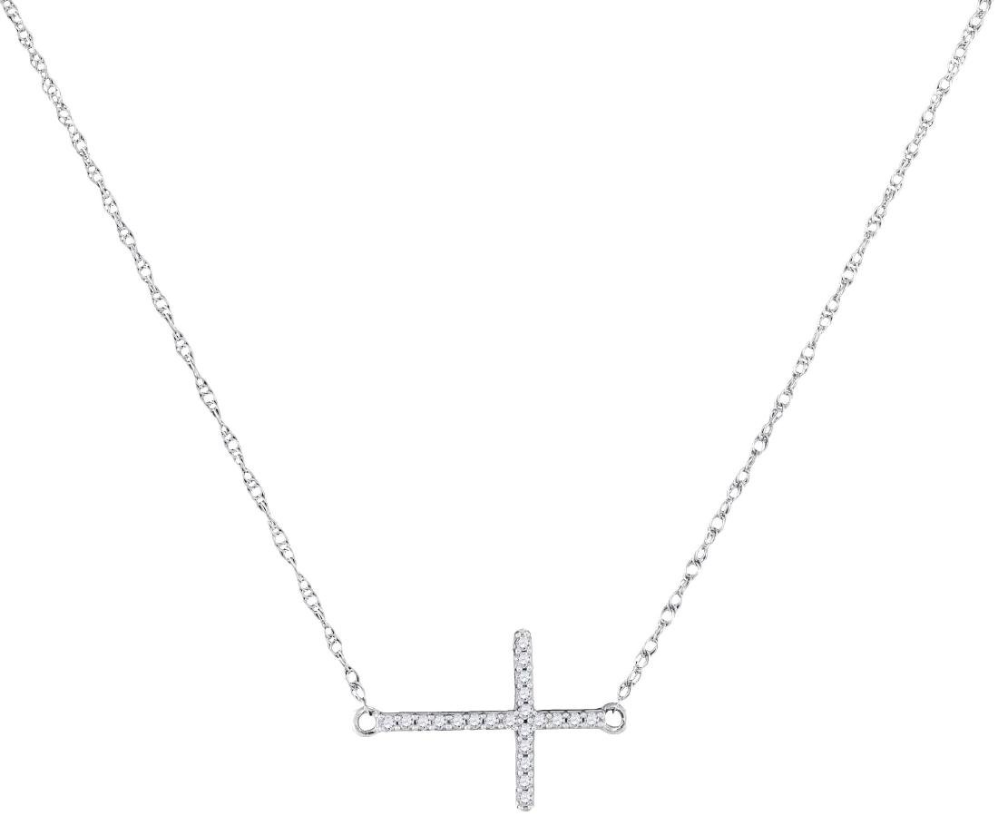 0.06 CTW Diamond Sideways Horizontal Cross Pendant 10KT