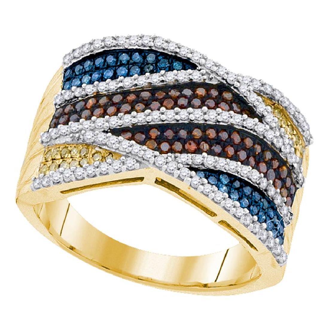 0.75 CTW Multicolor Diamond Fashion Ring 10KT Yellow