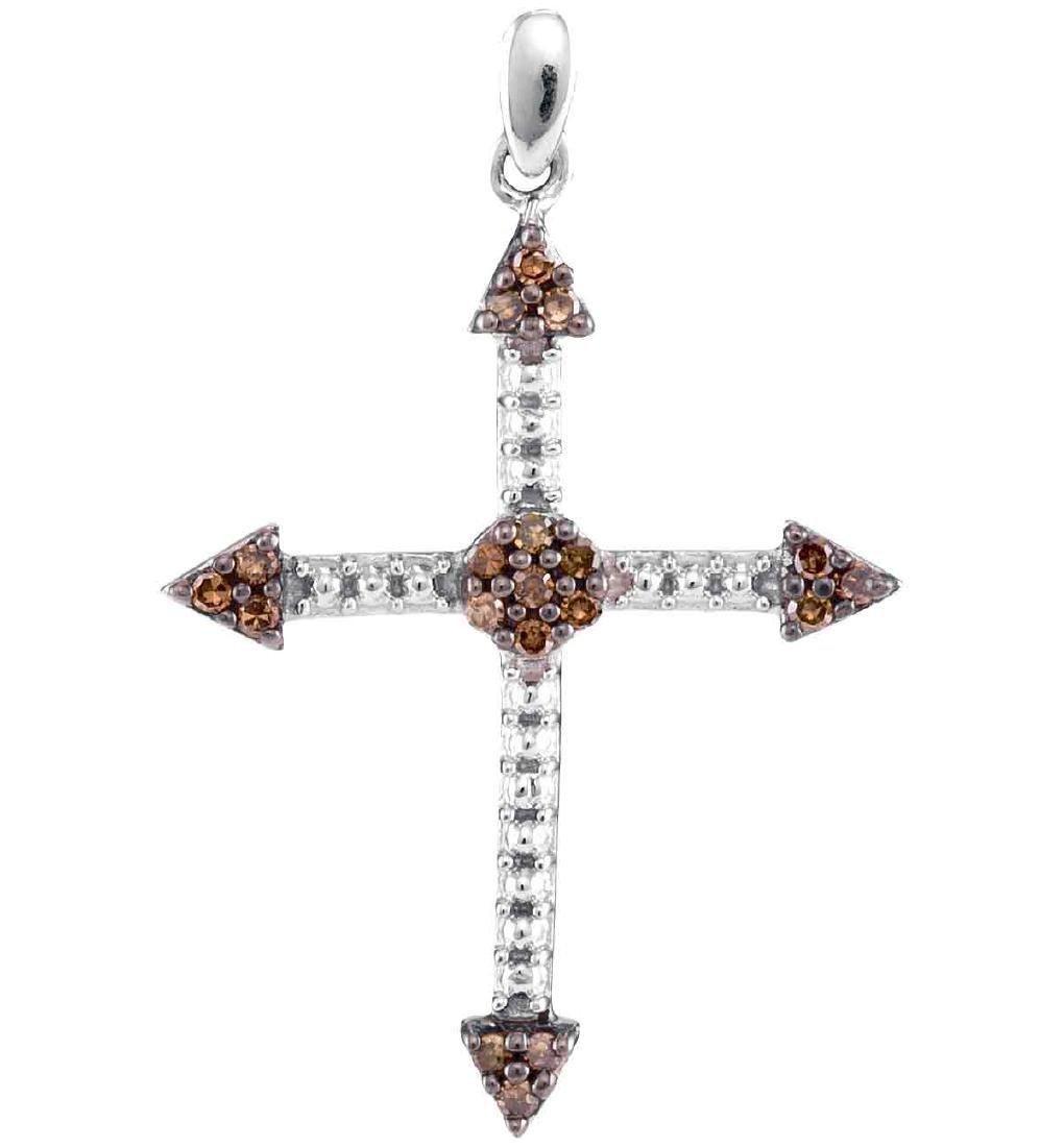 0.15 CTW Cognac-brown Color Diamond Cross Beaded