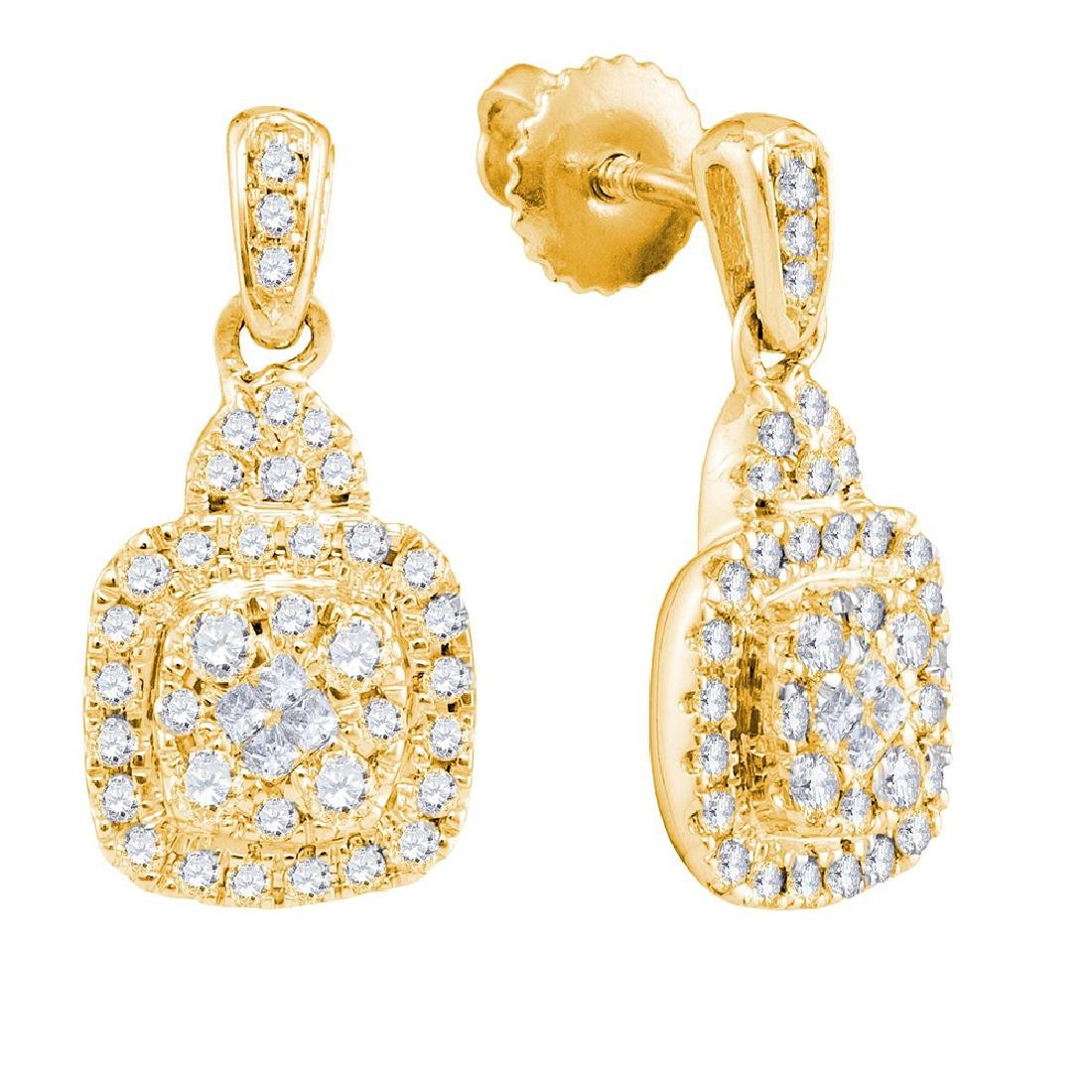 0.45 CTW Princess Diamond Soleil Square Dangle Earrings