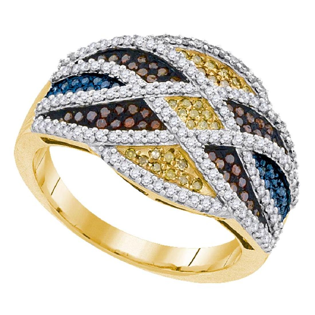 0.76 CTW Multicolor Diamond Fashion Ring 10KT Yellow