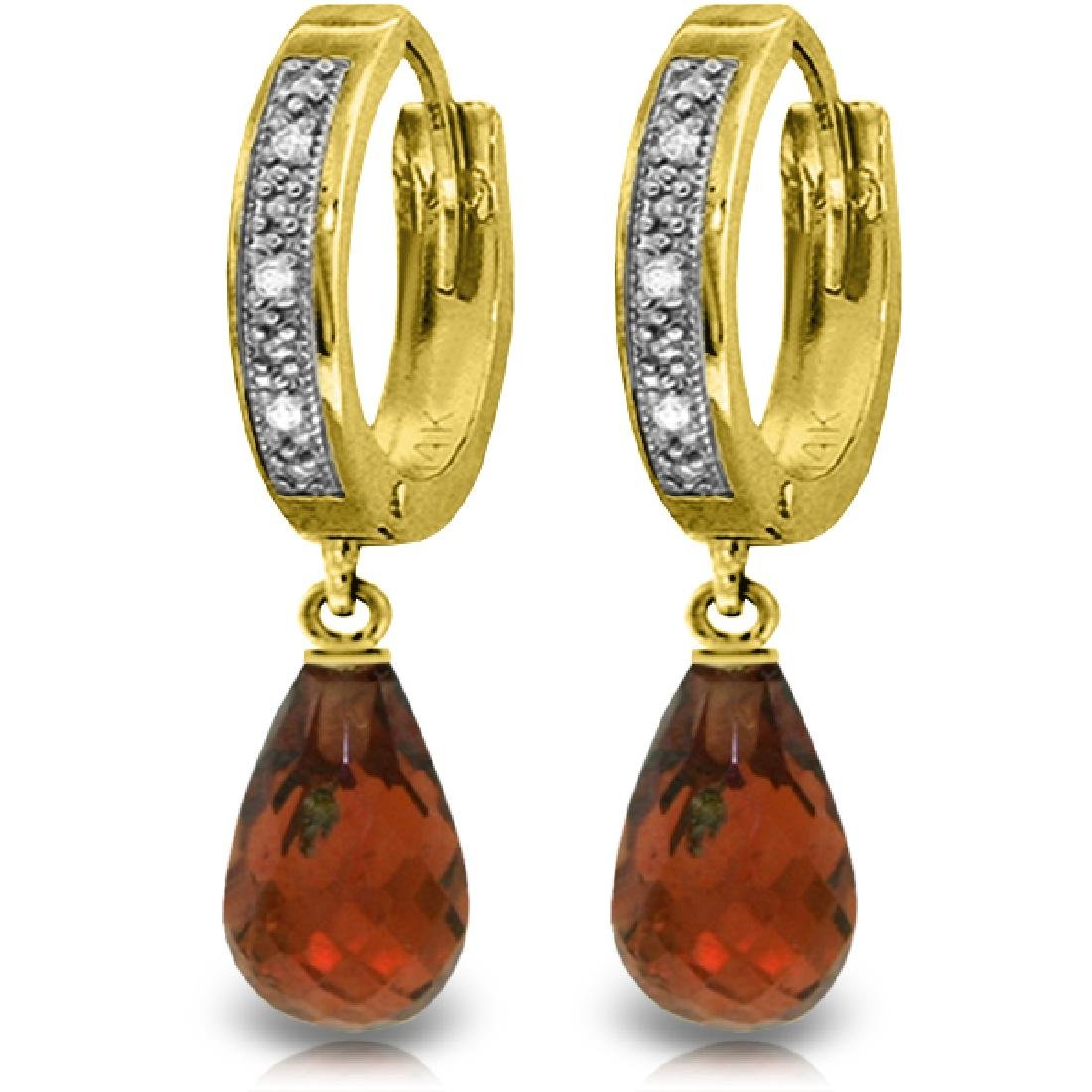 Genuine 4.54 ctw Garnet & Diamond Earrings Jewelry 14KT