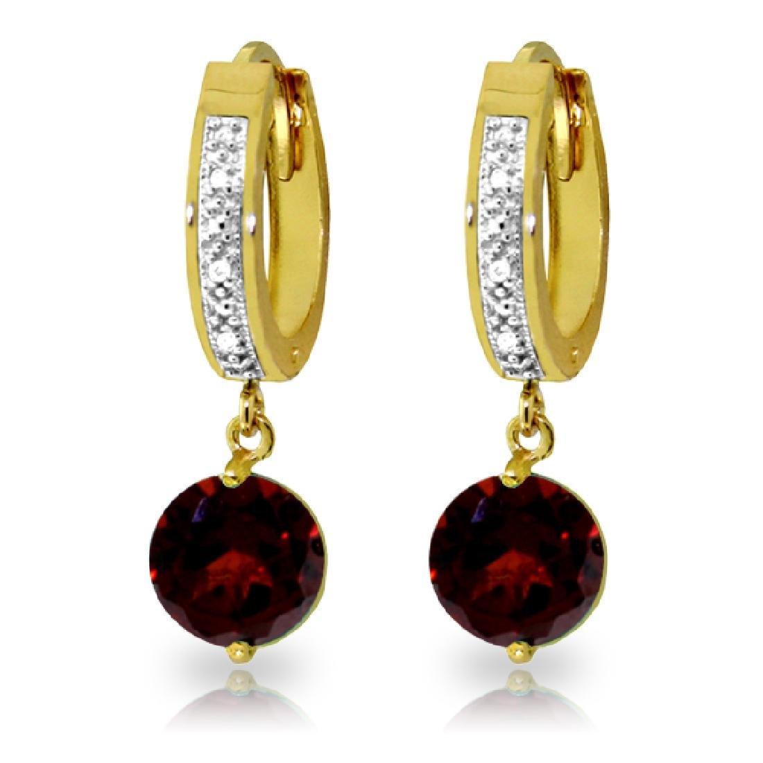 Genuine 2.53 ctw Garnet & Diamond Earrings Jewelry 14KT