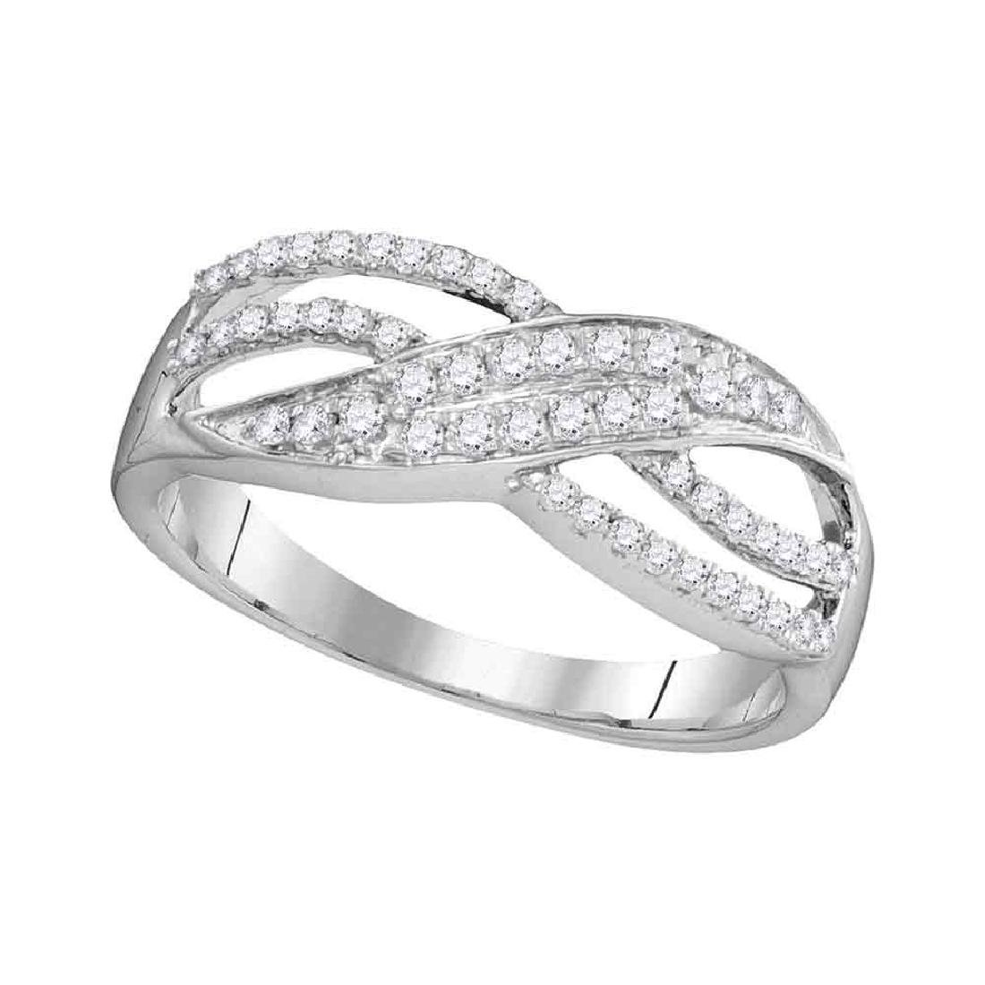 0.30 CTW Diamond Crossover Ring 10KT White Gold -