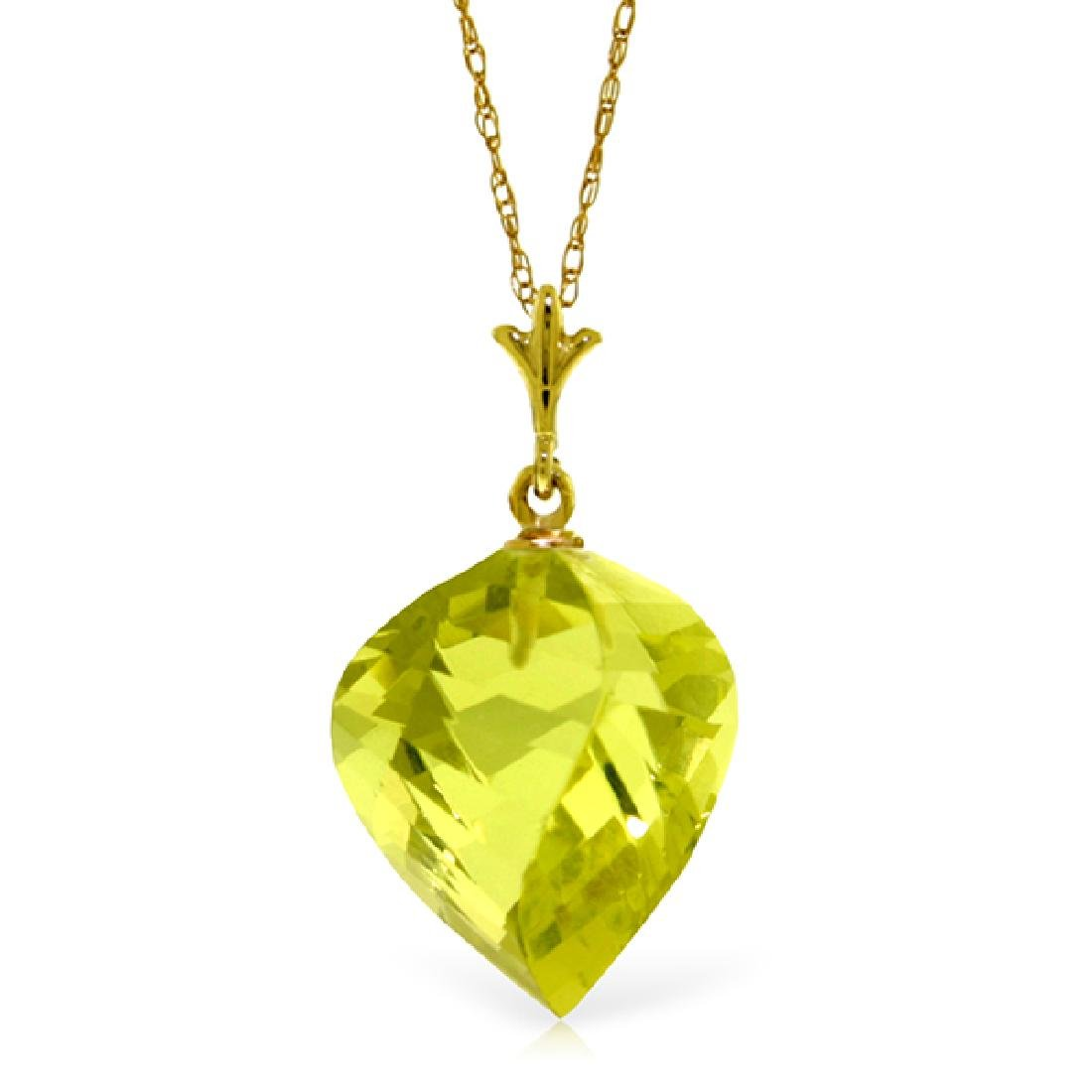 Genuine 10.75 ctw Quartz Lemon Necklace Jewelry 14KT
