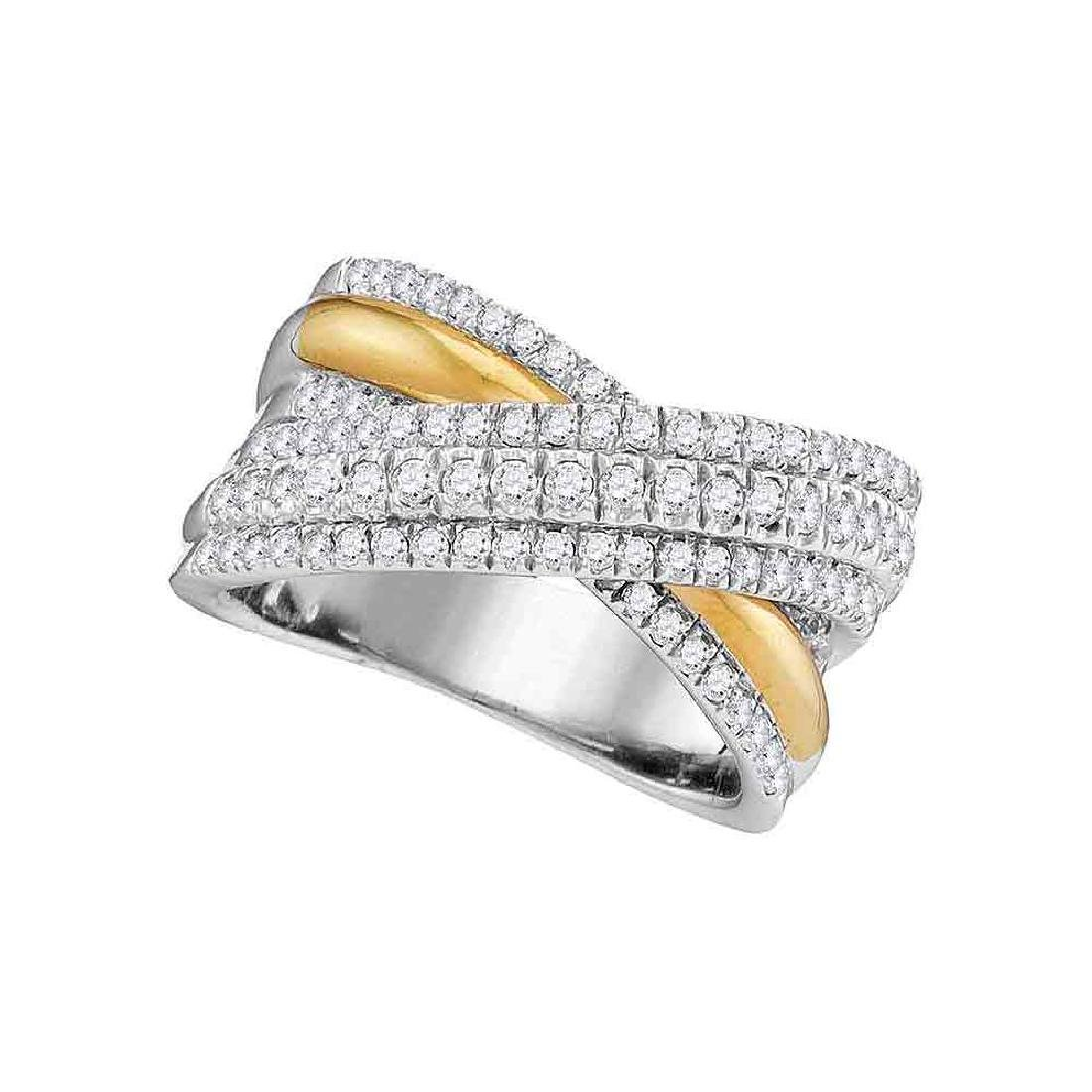 0.99 CTW Diamond Crossover Fashion Ring 14KT Two-tone