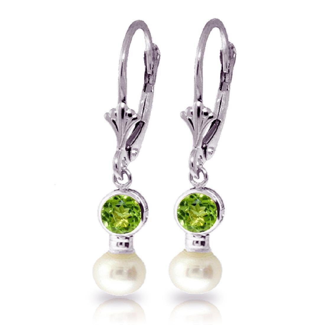 Genuine 5.2 ctw Peridot & Pearl Earrings Jewelry 14KT