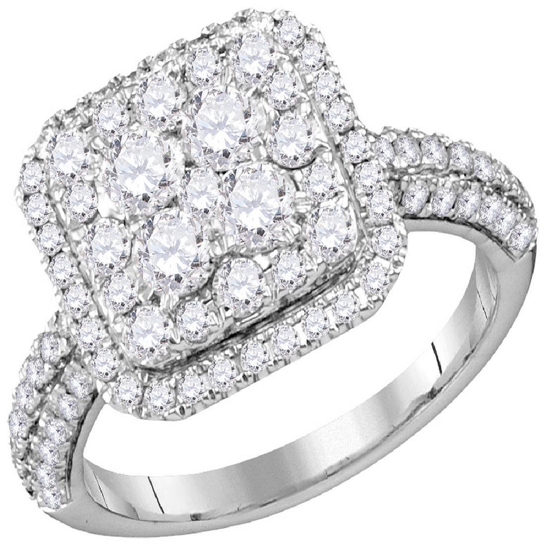 1.63 CTW Diamond Square Cluster Bridal Engagement Ring