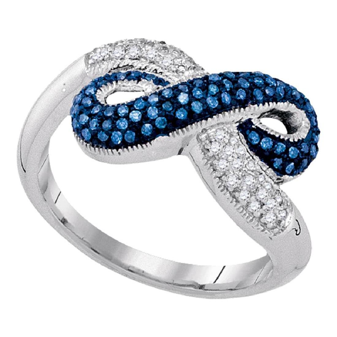 0.36 CTW Blue Color Diamond Infinity Ring 10KT White