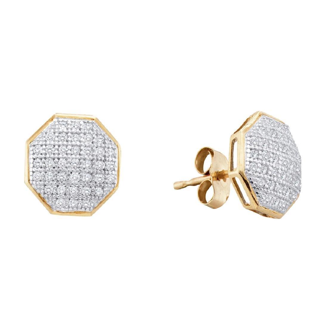 0.20 CTW Diamond Octagon Cluster Earrings 10KT Yellow