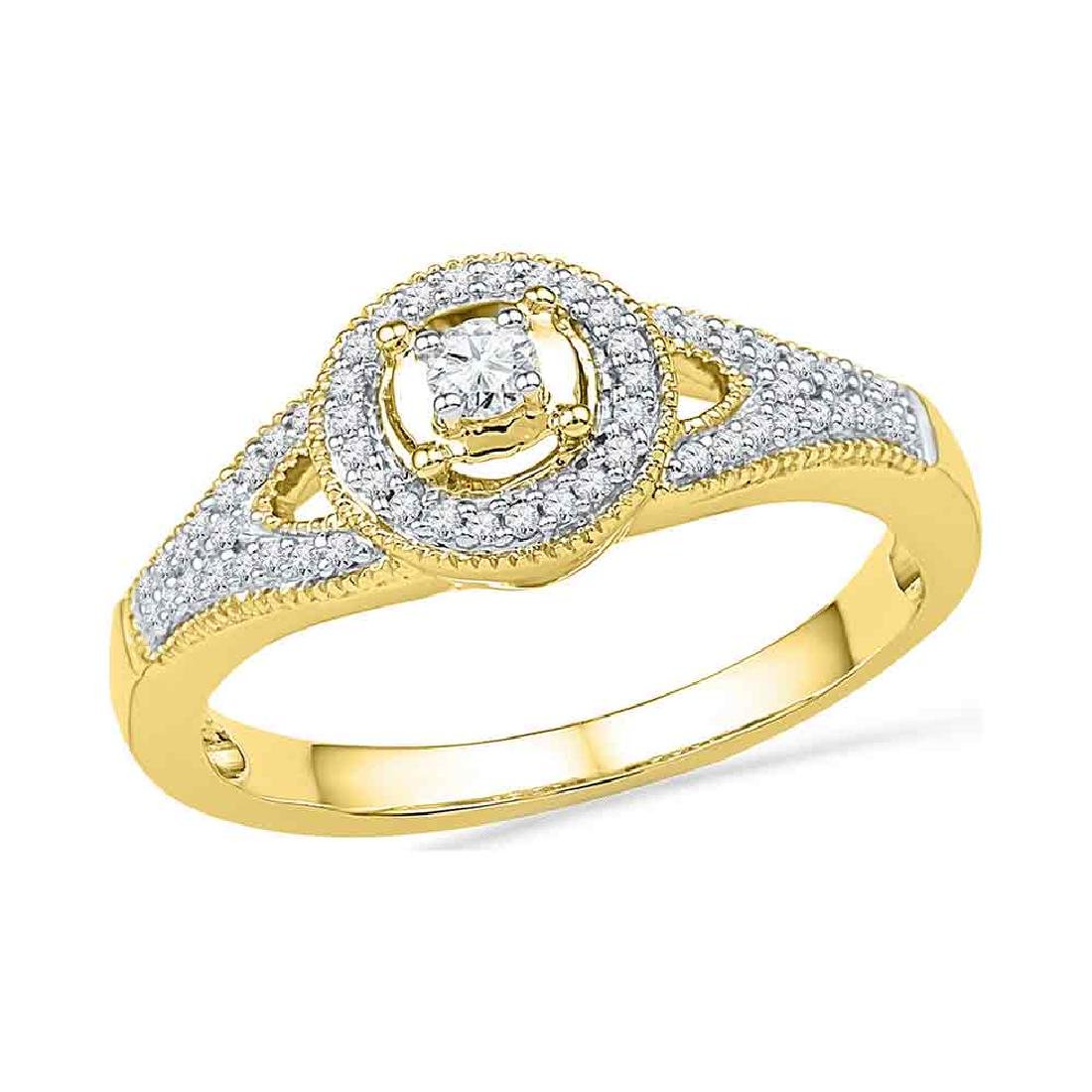 0.25 CTW Diamond Encircled Solitaire Milgrain Promise