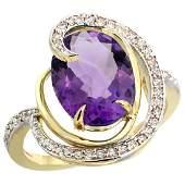 Natural 6.53 ctw amethyst & Diamond Engagement Ring 14K