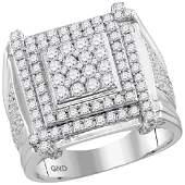 2.7 CTW Mens Diamond Square Cluster Ring 10KT White