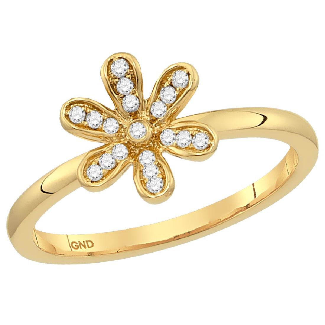 0.10 CTW Diamond Floral Stackable Ring 10KT Yellow Gold
