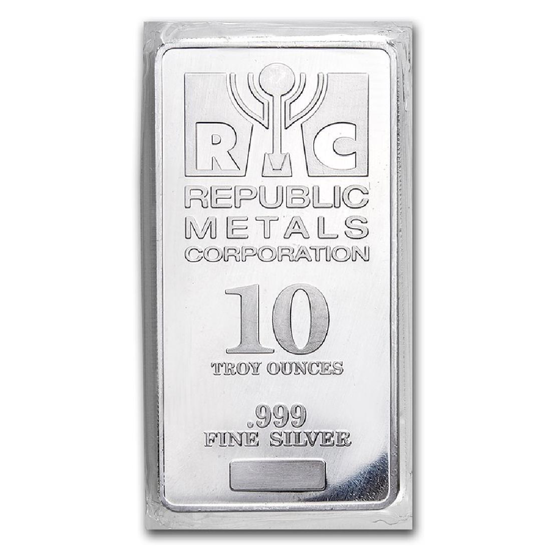 Genuine 10 oz 0.999 Fine Silver Bar - Republic Metals