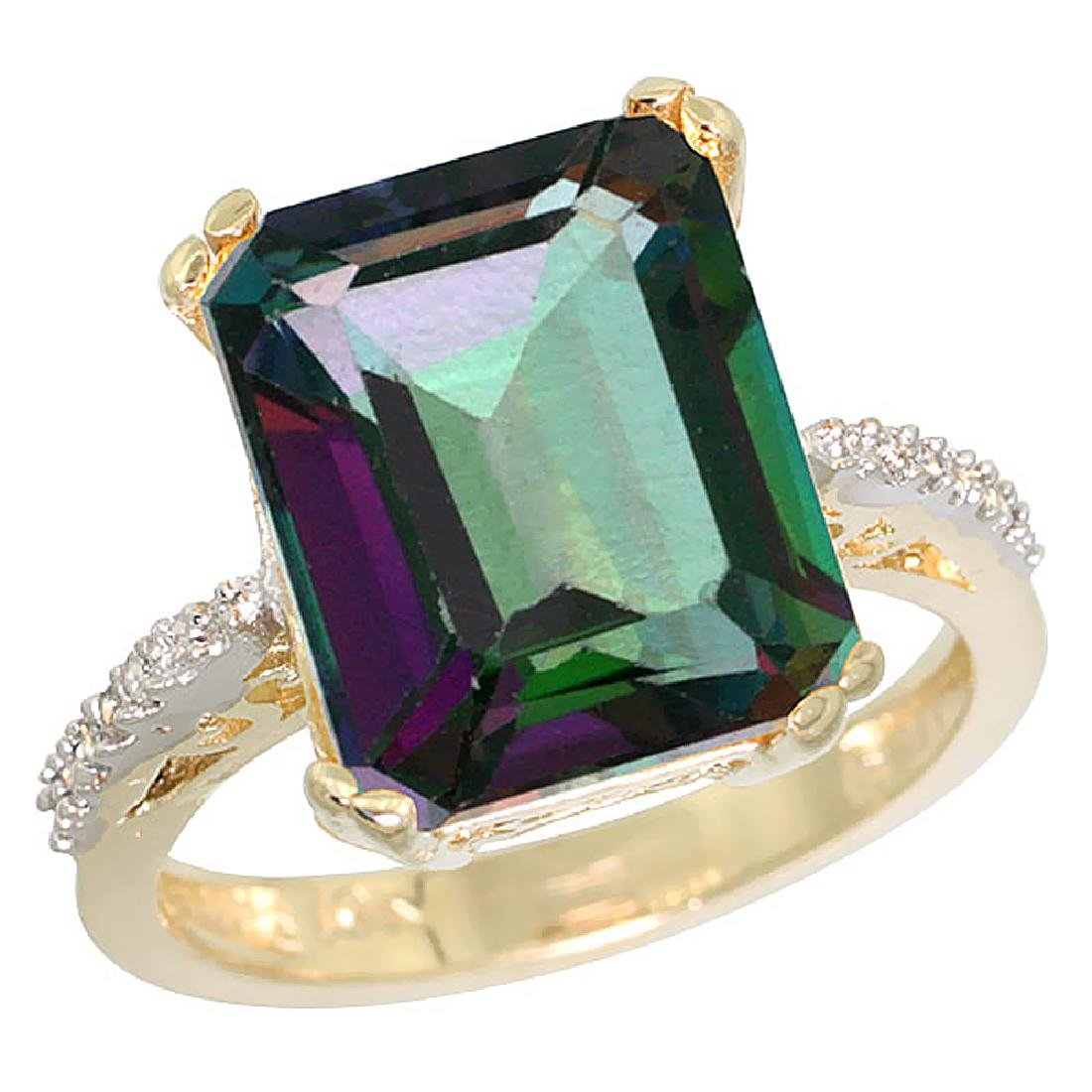 Natural 5.48 ctw Mystic-topaz & Diamond Engagement Ring