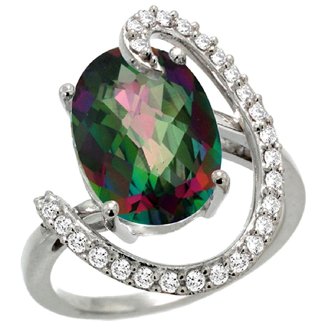 Natural 5.89 ctw Mystic-topaz & Diamond Engagement Ring
