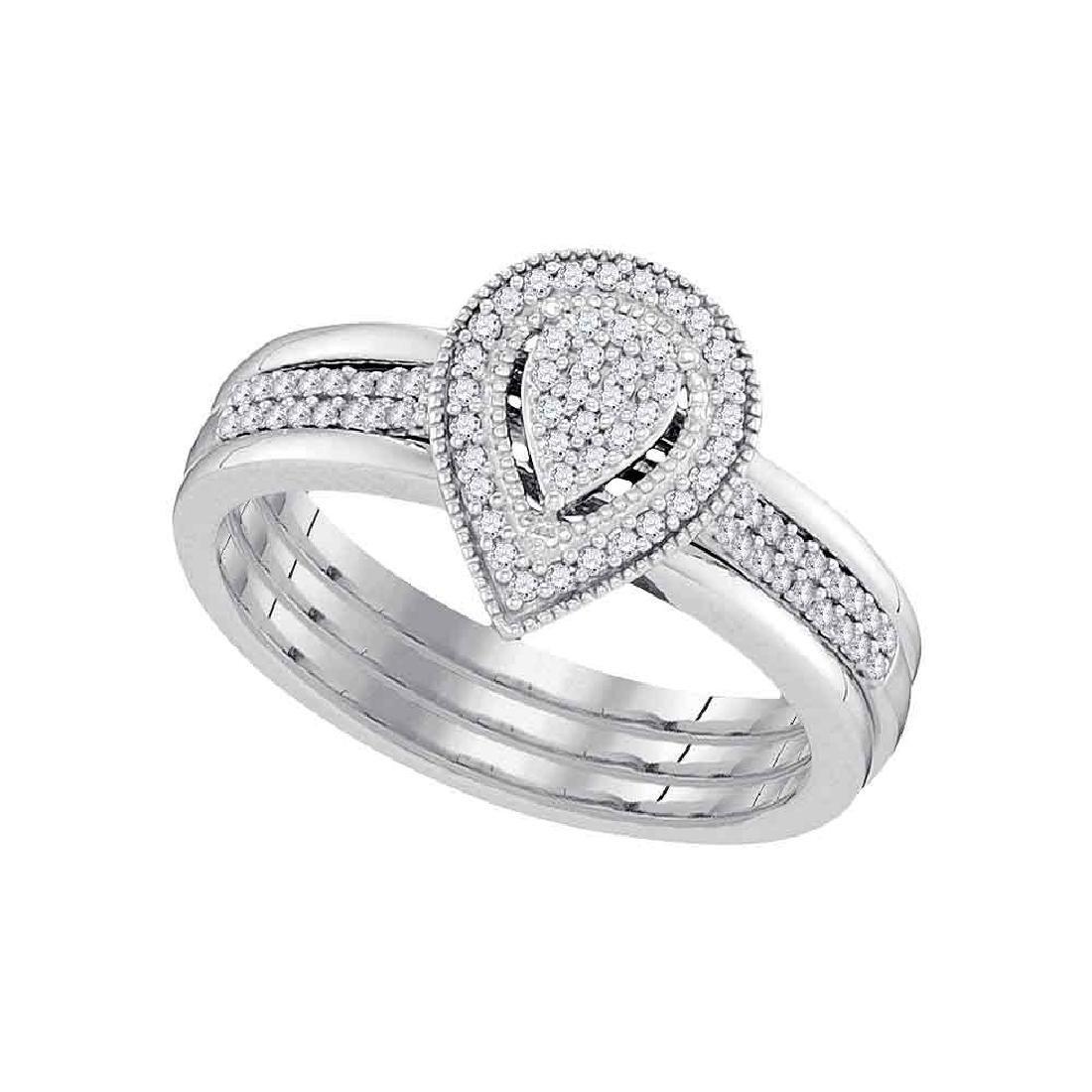 0.20 CTW Diamond Teardrop Bridal Engagement Ring 10KT